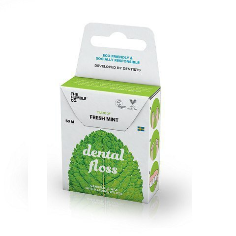 HUMBLE BRUSH Naturalna woskowana nić dentystyczna o smaku łagodnej mięty 50m