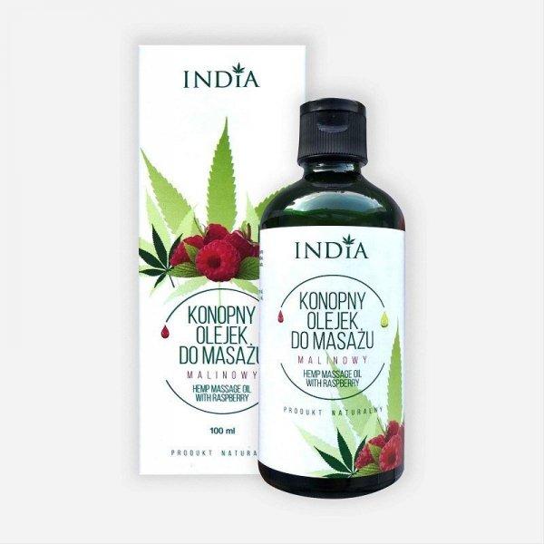 INDIA COSMETICS Konopny olejek do masażu Malinowy 100ml