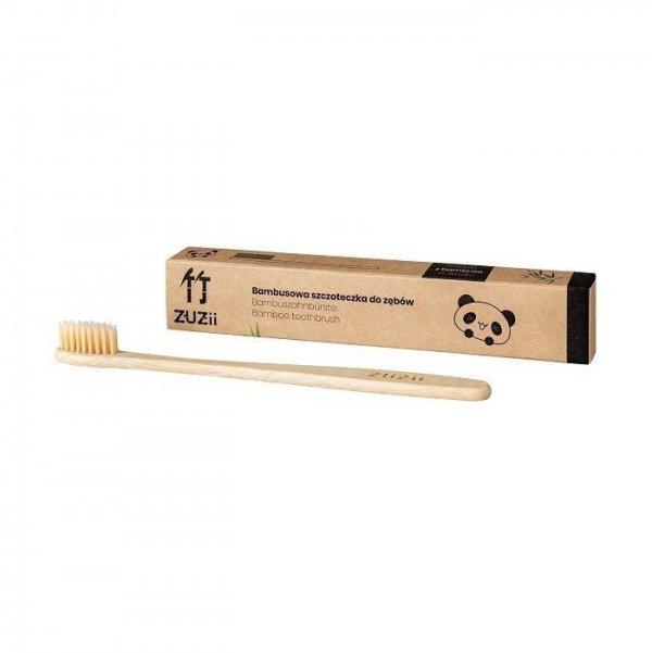 ZUZII Naturalna, wegańska szczoteczka do zębów dla dorosłych bambusowa SOFT beżowa