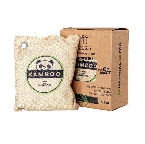 ZUZII Węgiel bambusowy - Osuszacz powietrza Pochłaniacz wilgoci i zapachów 2 x 200g