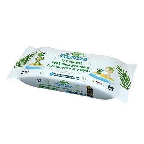 My Happy Planet, 100% biodegradowalne chusteczki nawilżane, 60 szt.