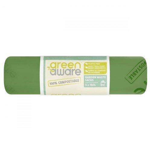 GREEN AWARE Kompostowalne worki na odpady ogrodowe 150L, 3 szt