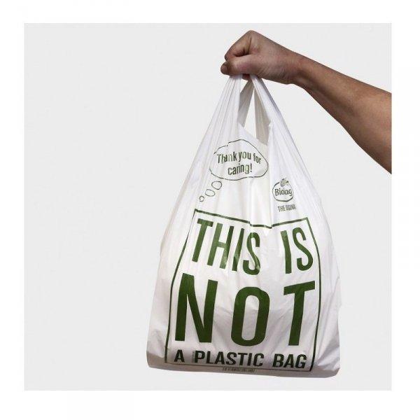BioBag Torba na zakupy T-shirt 100% kompostowalna 44x30cm, 10 sztuk