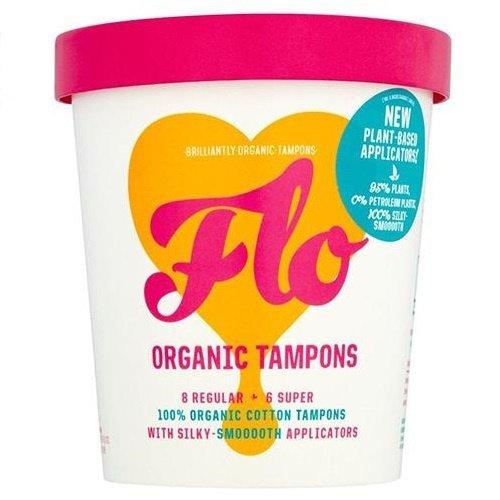 Flo Organic Tampons Bio Tampony bawełniane z aplikatorem Plant - Based (8 Regular + 6 Super) - 14 szt.