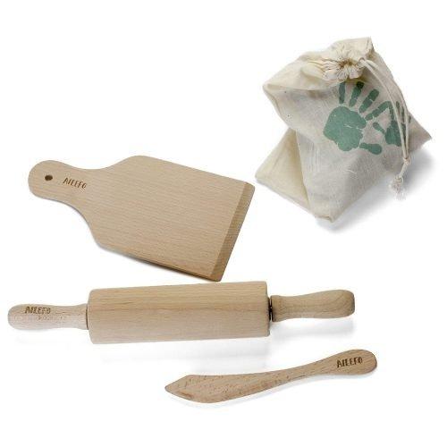 AILEFO Zestaw drewnianych narzędzi kuchennych w bawełnianym worku