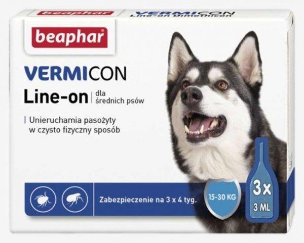 beaphar Vermicon dla Psa M 3x3ml krople przeciw kleszczom i pchłom