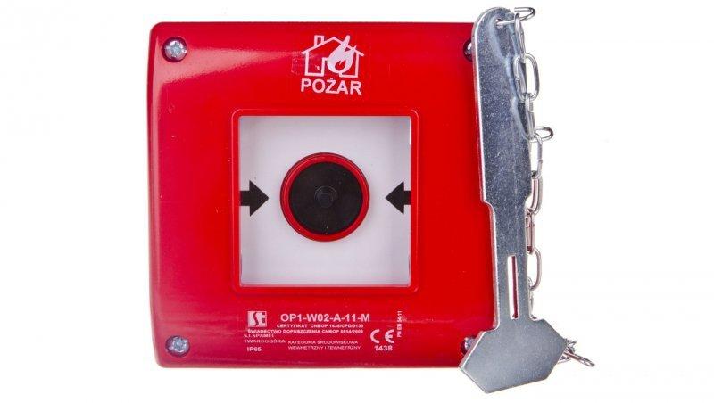Przycisk ppoż. podtynkowy 1Z 1R czerwony z młotkiem OP1-W02-A-11-M