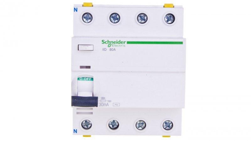 Wyłącznik różnicowoprądowy 4P 80A 0,03A typ AC iID A9Z11480