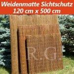 Weidenmatte Sichtschutz Rollzaun 120 cm x 500 cm