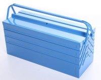 Werkzeugkoffer Werkzeugkasten Stahlblech 430mm 7 Fächer blau