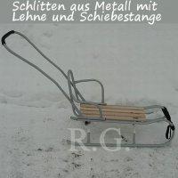 Schlitten aus Metall mit Rückenlehne Schiebestange und Stoßdämpfer silber