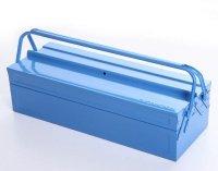 Werkzeugkoffer Werkzeugkasten Stahlblech 530mm 3 Fächer blau
