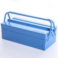 Werkzeugkoffer Werkzeugkasten Stahlblech 430mm 3 Fächer blau