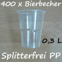 400 Bierbecher 0,3 L Transparent