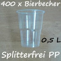 400 Bierbecher 0,5 L Transparent