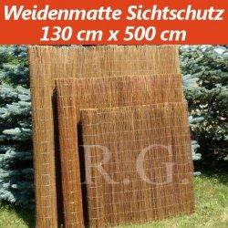 Weidenmatte Sichtschutz Rollzaun 130 cm x 500 cm