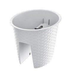 Balkonkasten Geländerkasten Rattan Optik Ratolla Railing Oval 300 weiß