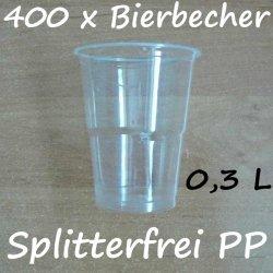 400 Bierbecher 0,3 L Transparent