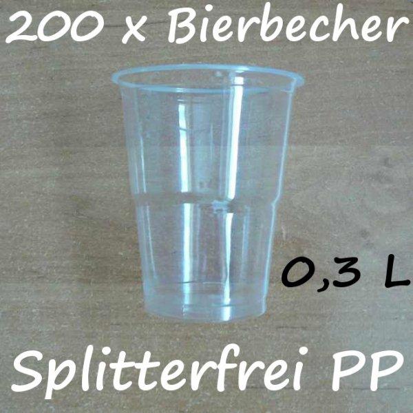 200 Bierbecher 0,3 L Transparent