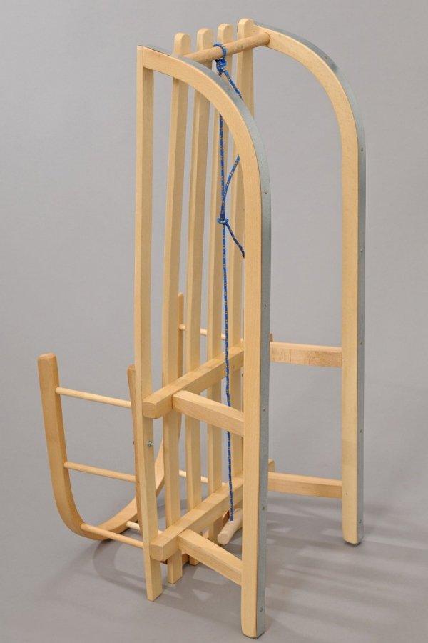 Holzschlitten mit Rückenlehne Winterfußsack 108cm Blau