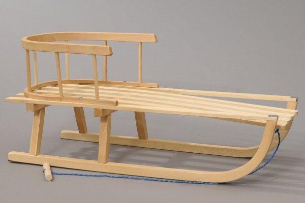 Holzschlitten mit Rückenlehne Winterfußsack 90cm Blau