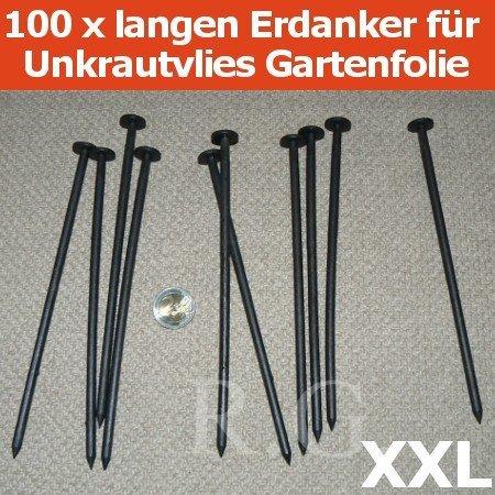 100 extra langen Erdanker Bodenanker für Unkrautvlies Gartenfolie 19cm