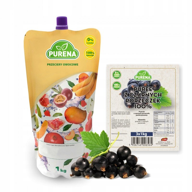 Pulpa (puree) owocowe 100% z czarnej porzeczki 1kg