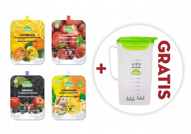 Lemoniady i kompoty owocowe koncentraty mix 340g x 4szt = 8l  + dzbanek gratis