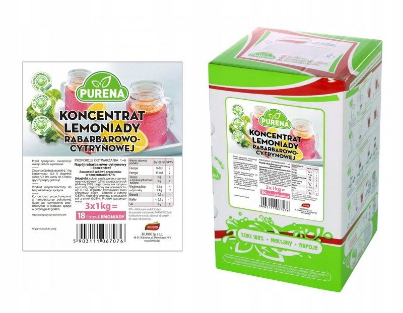 Lemoniada rabarbar-cytryna koncentrat 18l/3kg
