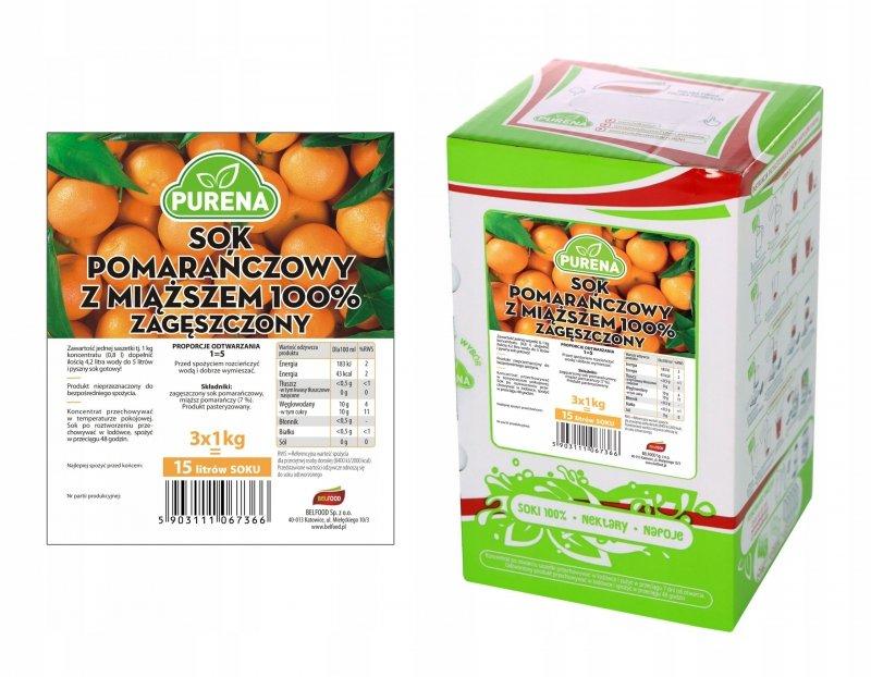 Sok pomarańczowy z miąższem 100% zagęszczony 15l/3kg