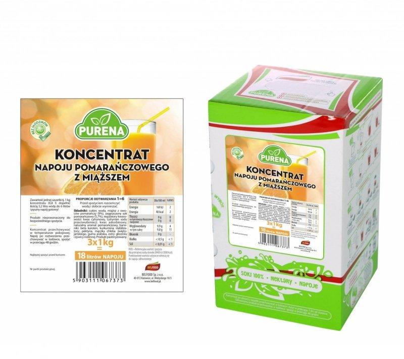 Napój pomarańczowy z miąższem koncentrat 18l/3kg