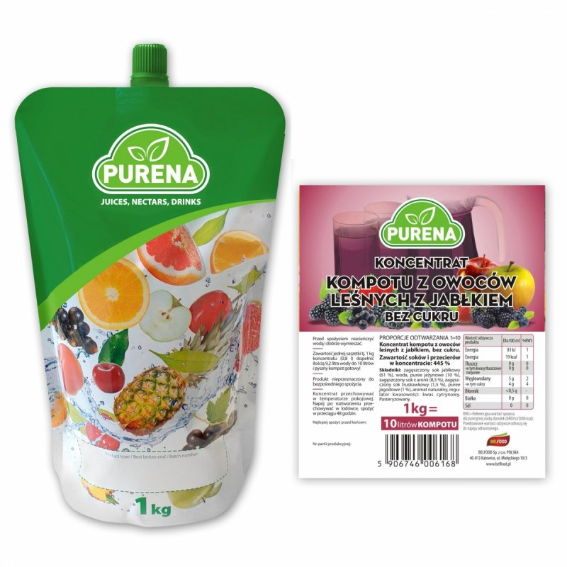 Kompot z owocami leśnymi b/c koncentrat 10l/1kg