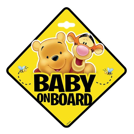 BABY ON BOARD Schild Aufkleber Auto WINNIE THE POOH Saugnapf Sticker Disney