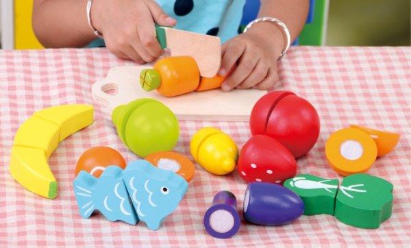 Holzspielzeug Lebensmittel Spielset Essen Kochen Spielzeug Kinder Holzspiel 13 Gemüse Obst Set 13-teilig Schneidebrett Messer Fisch Orange Banane Zitrone Limette Aubergine