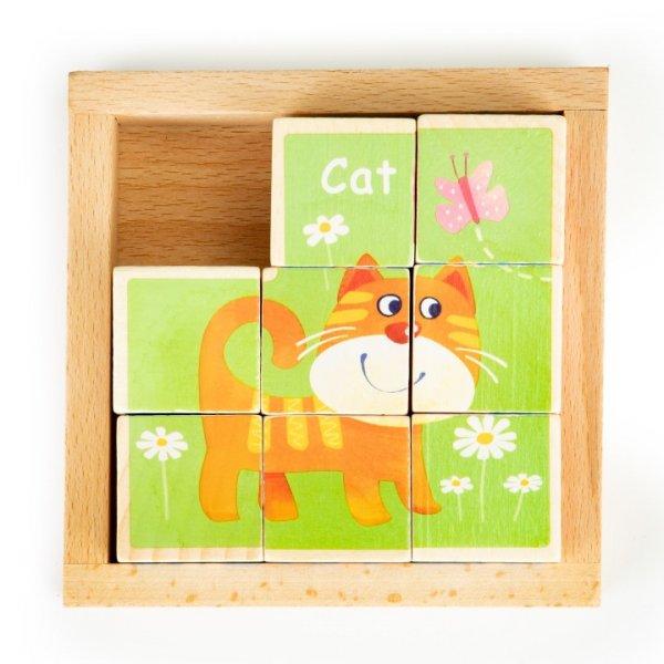 Würfelpuzzle ZOO Tiere Holz Bilderwürfel Setzpuzzle 3 Motive Englische Setzpuzzle Kinderpuzzle