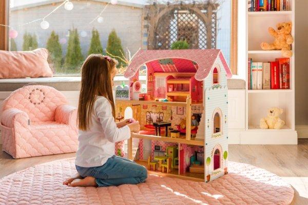 Puppenhaus Puppenvilla Puppenstube Holzspielzeug 3 Etagen Puppen Set bunt + Möbeln Zubehör
