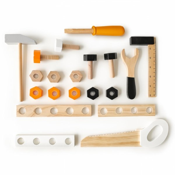 Werkzeugbank 32-teilig Werkzeug Holzspielzeug Kinderspielzeug Motorikspielzeug