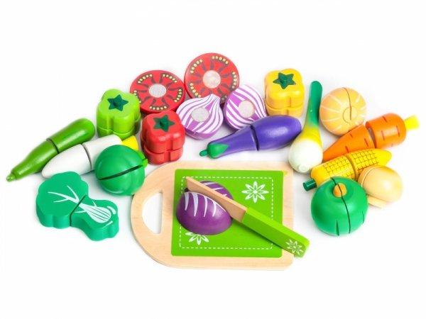 20tlg Set Gemüse HOLZ Schneiden ECOTOYS Lebensmittel Spielküche Kinderküche 3+