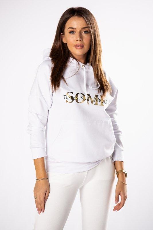 Bluza bawełniana z kapturem Gold Letters M80420 White