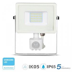 Projektor LED V-TAC 20W SAMSUNG CHIP Czujnik Ruchu Funkcja Cut-OFF Biały VT-20-S 4000K 1600lm 5 Lat Gwarancji