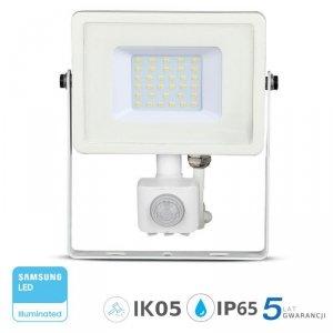 Projektor LED V-TAC 30W SAMSUNG CHIP Czujnik Ruchu Funkcja Cut-OFF Biały VT-30-S 6400K 2400lm 5 Lat Gwarancji