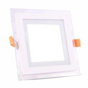 Panel LED V-TAC 12W LED Szkło Kwadrat VT-1202G 3000K 840lm