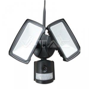 Projektor LED z Kamerą WiFi 18W Czujnik Ruchu Czarny V-TAC VT-4818 6000K 600lm