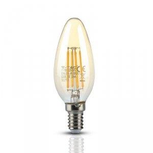 Żarówka LED V-TAC 4W Filament E14 Świeczka Bursztyn VT-1955 2200K 350lm