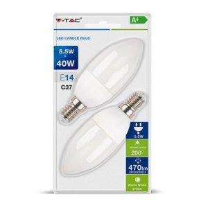 Żarówka LED V-TAC 5.5W E14 Świeczka (Blister 2szt) VT-2106 2700K 470lm