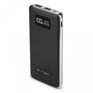 Power Bank V-TAC 10000mah Dual USB, Wyświetlacz, Czarny VT-3526