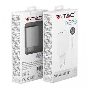 Ładowarka V-TAC Micro USB z Przewodem Biała VT-5371