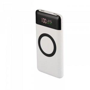 Power Bank V-TAC 10000mah Wireless Dual USB+TypeC+Led Screen Biały VT-3521