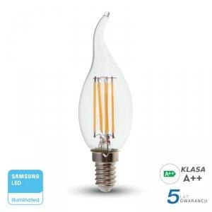 Żarówka LED V-TAC SAMSUNG CHIP 4W E14 Filament Świeczka Płomyk VT-2645 2700K 400lm 3 Lata Gwarancji