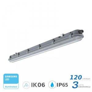 Oprawa Hermetyczna LED V-TAC SAMSUNG CHIP M-SERIES 18W 60cm 120LM/W CL VT-60018 6400K 2160lm 3 Lata Gwarancji